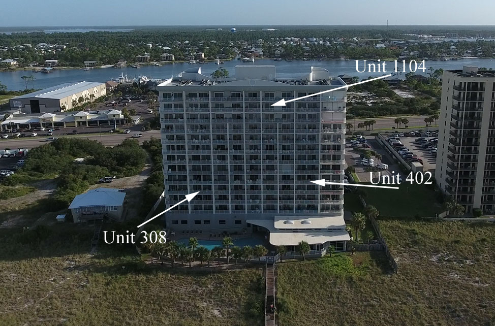 Aerial map of rental units in Tidewater condominium in Orange Beach AL